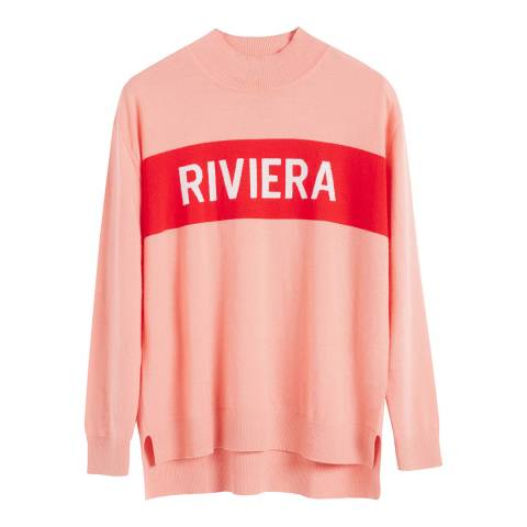 Chinti and Parker Dusty Rose Cashmere Riviera Slogan Sweater
