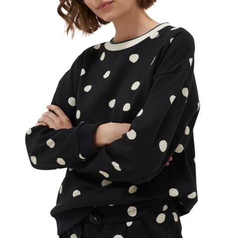 Chinti and Parker Black Painted Cotton Spot Sweatshirt