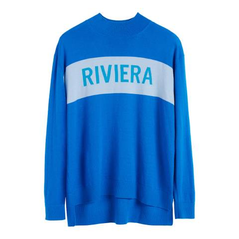 Chinti and Parker Royal Blue Cashmere Riviera Slogan Sweater