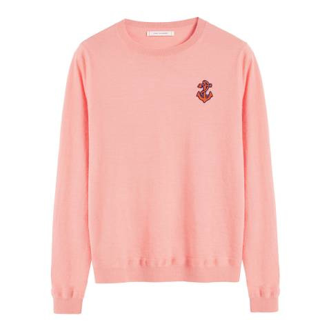 Chinti and Parker Dusty Rose Cashmere Anchor Badge Sweater
