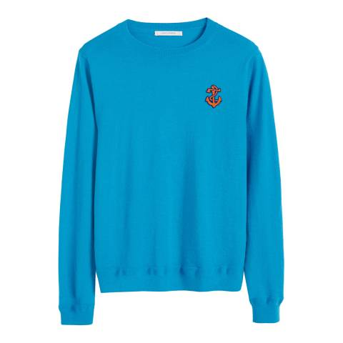 Chinti and Parker Turquoise Cashmere Anchor Badge Sweater