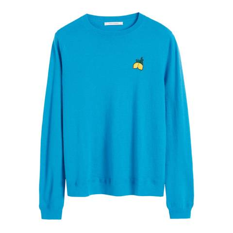 Chinti and Parker Turquoise Cashmere Lemon Badge Sweater