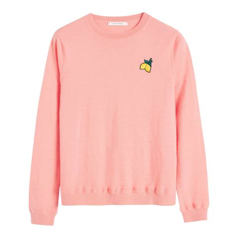 Chinti and Parker Dusty Rose Cashmere Lemon Badge Sweater