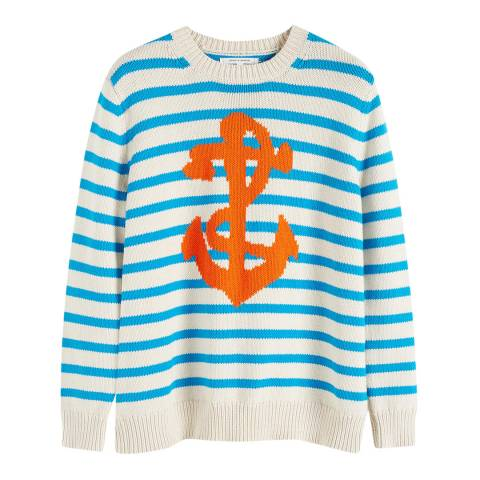 Chinti and Parker Cream/Turquoise Cotton Anchor Sweater
