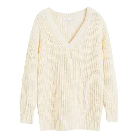 Chinti and Parker Cream Cotton V Neck Sweater