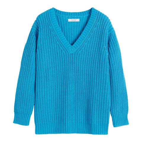 Chinti and Parker Turquoise Cotton V Neck Sweater