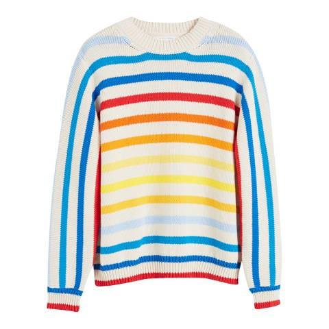 Chinti and Parker Multi Rainbow Cotton Breton Sweater