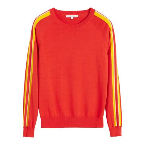 Chinti and Parker Bright Red Cotton Seaside Stripe Sweater