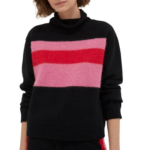Chinti and Parker Black Alpaca Stripe Turtle Neck