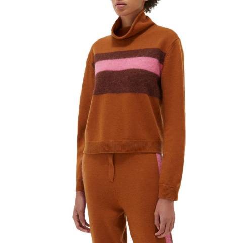 Chinti and Parker Ginger Alpaca Stripe Turtle Neck
