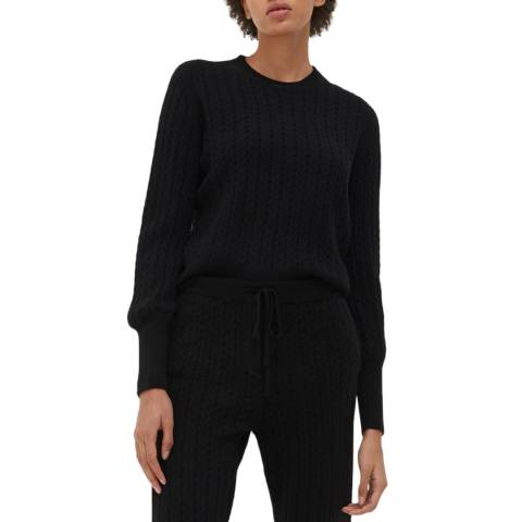 Chinti and Parker Black/ Ginger Cashmere Cable Sweater