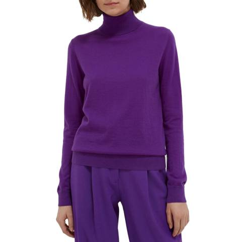 Chinti and Parker Purple Cashmere Roll Neck Sweater