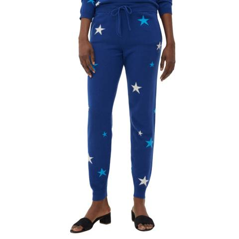 Chinti and Parker French Navy Cashmere Star Track Pants
