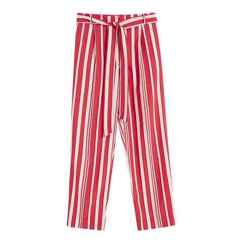 Chinti and Parker Bright Red/Ivory Parasol Tie Waist Pant