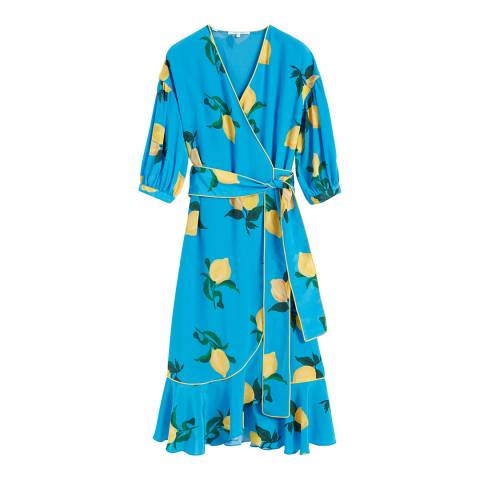 Chinti and Parker Turquoise Lemon Silk Wrap Dress