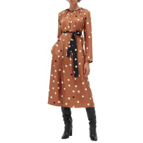 Chinti and Parker Ginger Painted Silk Spot Dress