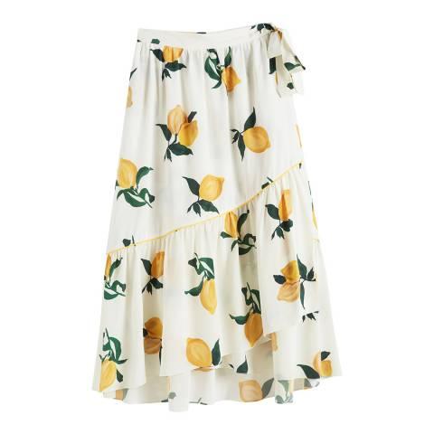 Chinti and Parker Ivory Lemon Silk Wrap Skirt