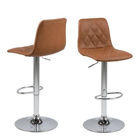 Actona Emu Barstool, Leather Look Dove Light Brown