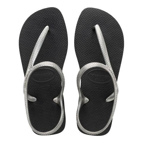 Havaianas Black Silver Flash Urban Sandals