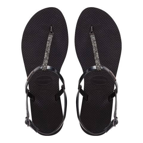 Havaianas Black You Riviera Crystal Sandals