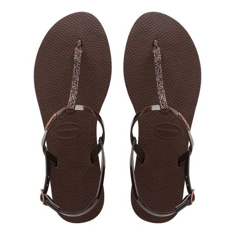 Havaianas Brown You Riviera Crystal Sandals