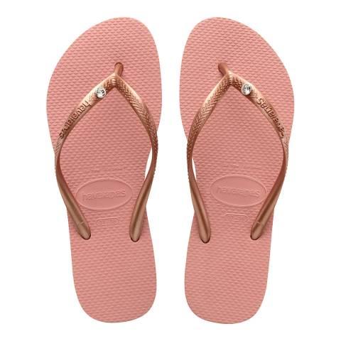 Havaianas Rose Nude Slim Swarovski Crystal Flip Flops