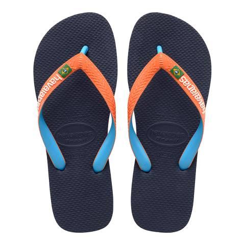 Havaianas Navy/Neon Orange Brazil Mix Flip Flops