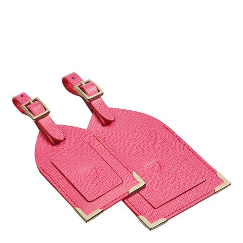 Aspinal of London Bright Pink Set of 2 Luggage Tags