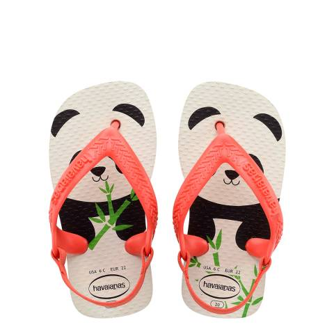 Havaianas Baby White/Strawberry Pets II Flip Flops