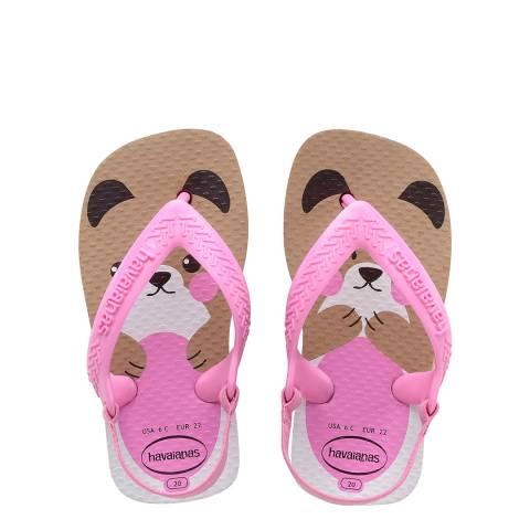 Havaianas Baby Pink Pets II Flip Flops