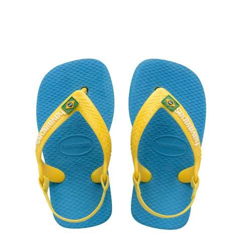 Havaianas Baby Turquoise Brazil Logo II Flip Flops