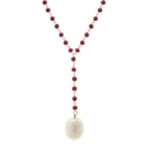 Liv Oliver 18K Gold Ruby & Pearl Y Necklace