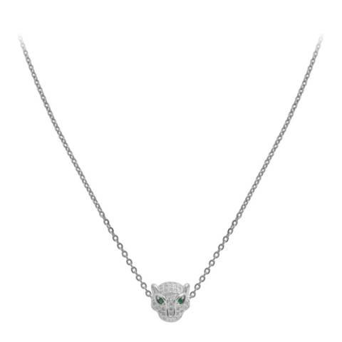 Liv Oliver Silver Panther Embelished Necklace