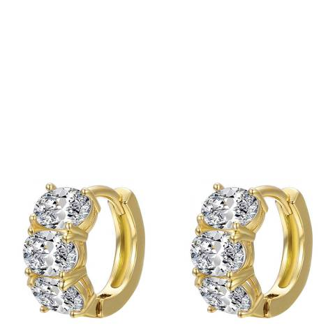Liv Oliver 18K Gold Multi Oval Zirconia Huggie Earrings