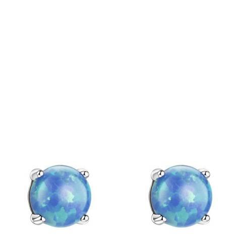 Liv Oliver Silver Blue Opal Stud Earrings