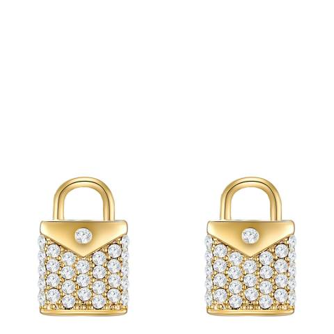 Glamcode Gold Crystal Lock Earrings