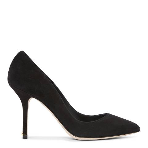 Dolce & Gabbana Black Suede Mid Heel Court Shoes