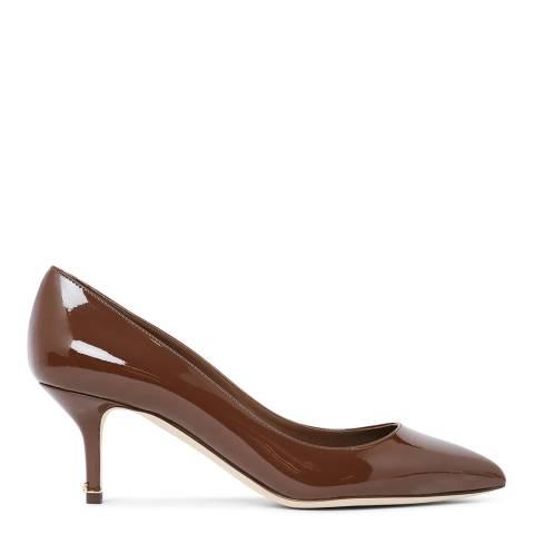 Dolce & Gabbana Tan Patent Kitten Heel Court Shoes