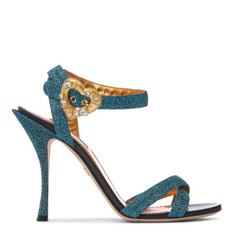 Dolce & Gabbana Turquoise Glitter Heeled Sandals