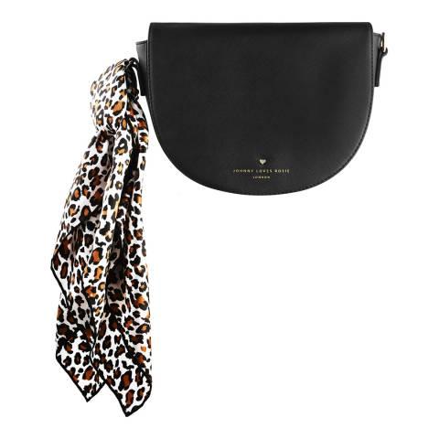 Johnny Loves Rosie Black Saddle Bag with Leopard Print Scarf
