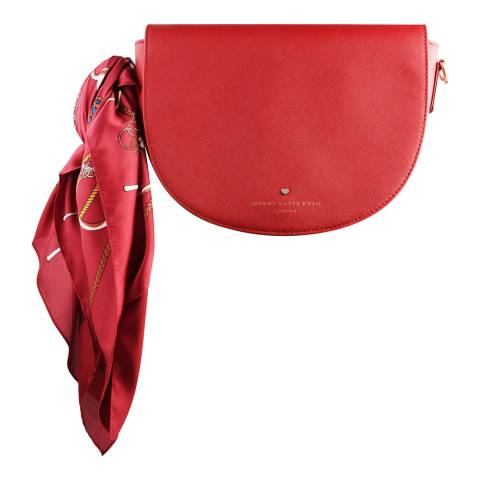Johnny Loves Rosie Red Saddle Bag with Chain Print Scarf