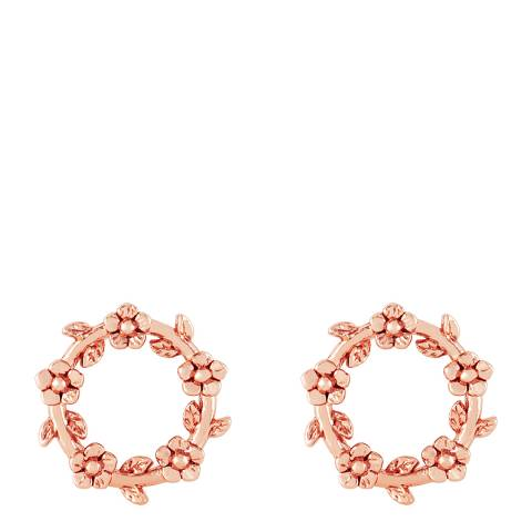 Johnny Loves Rosie Rose Gold Flower Circle Earrings