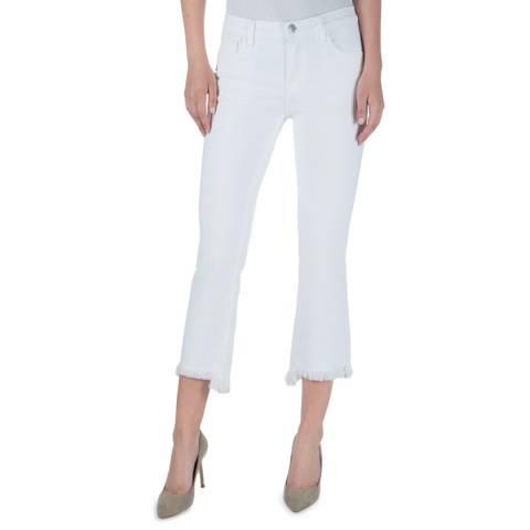 J Brand White Selena Mid Rise Crop Jeans