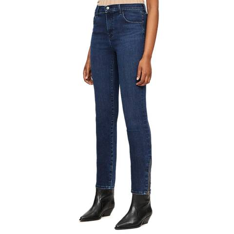 J Brand Blue Alana Cropped Zip Skinny Stretch Jeans