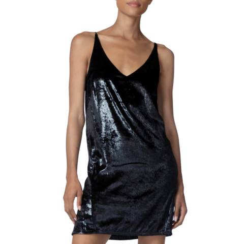 J Brand Black Velvet Brielle Slip Dress