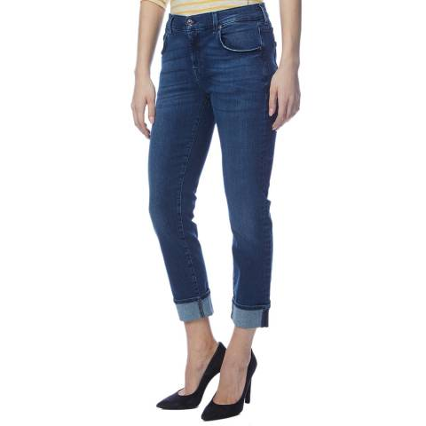 7 For All Mankind Blue Relaxed Skinny Illusion Jeans