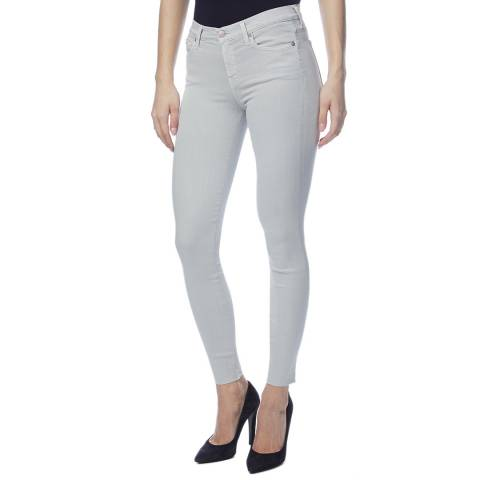 7 For All Mankind Pale Grey Skinny Crop Stretch Jeans
