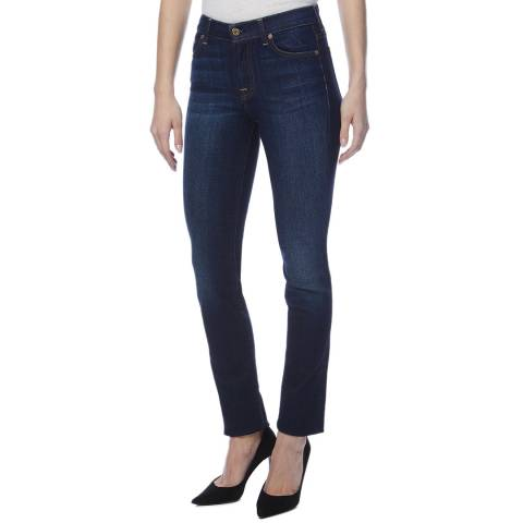 7 For All Mankind Dark Blue Rozie Straight Stretch Jeans