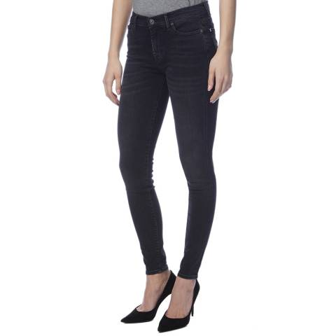 7 For All Mankind Washed Black Skinny Stretch Jeans