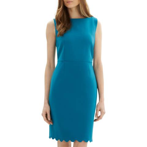 Jaeger Teal Scallop Hem Dress